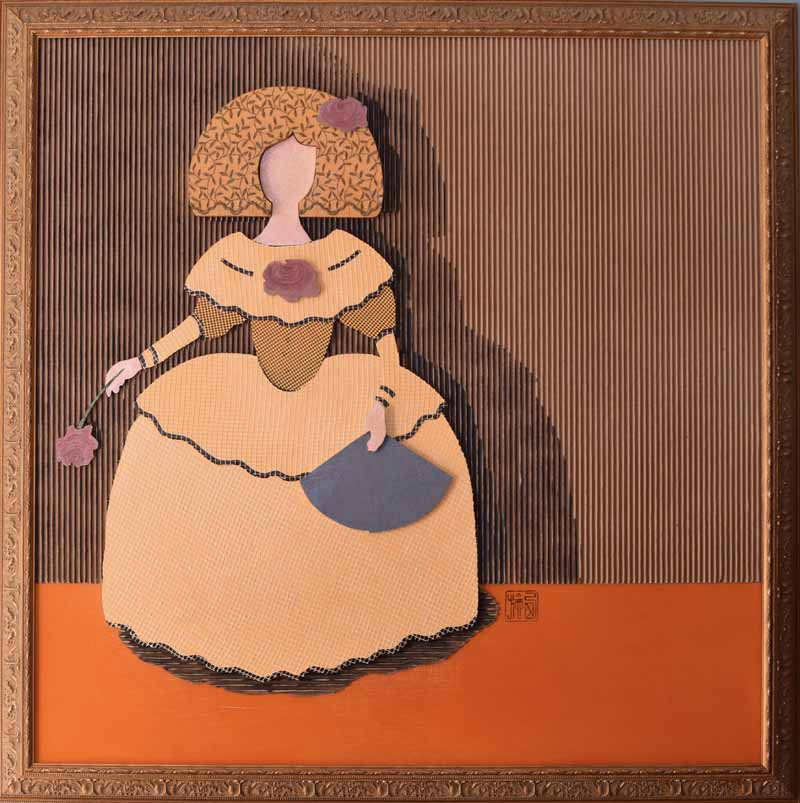 The Infanta Maria Teresa. (2020). Mixed media on wood and MDF. 4'x4' (122 x 122 cm).